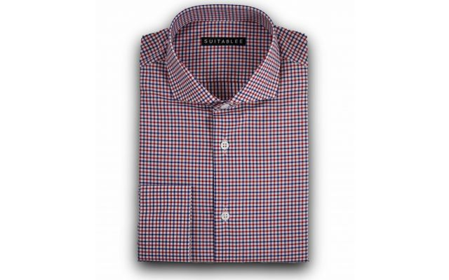 Red and Blue Check Poplin Dress Shirt