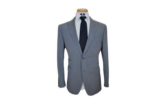 Sky Grey Herringbone Custom Wool Suit