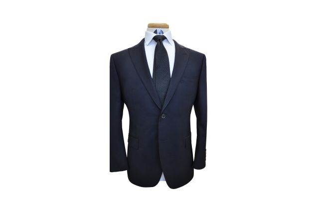Midnight Blue Herringbone Wool Suit