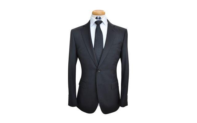 Black Herringbone Custom Wool Suit