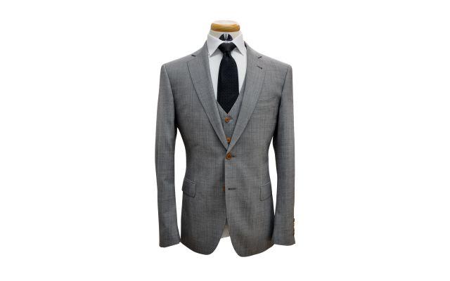 Grey Sharkskin Custom Wool Suit