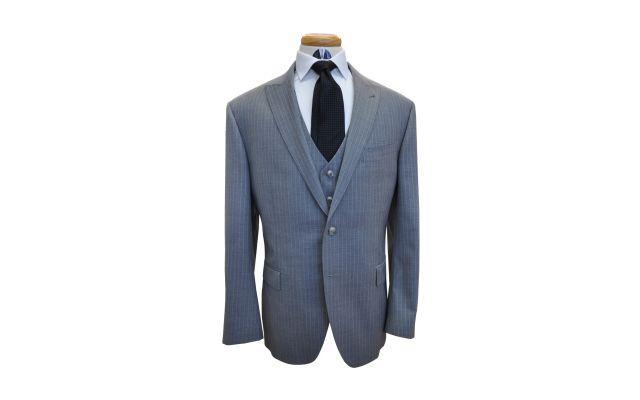 Light Grey Pinstripe Wool Suit