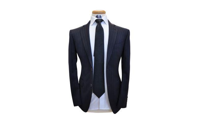 Midnight Blue Pinstripe Wool Suit