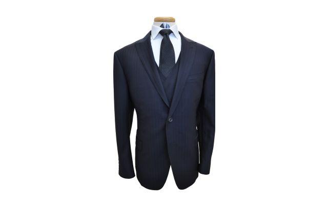 Black Pinstripe Wool Suit