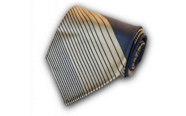 Striped Space Blue Silk Tie