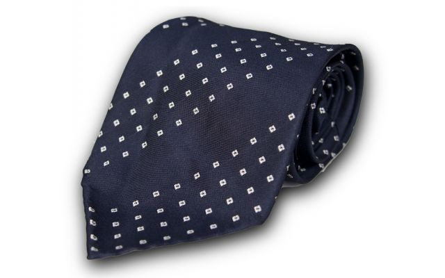 Dark Blue Foulard Silk Tie