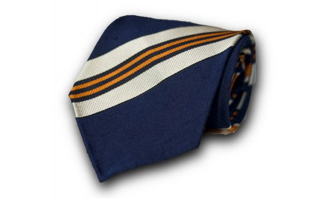 Navy Blue Orange Striped Silk Tie