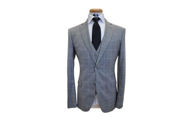 Grey Windowpane Wool Suit