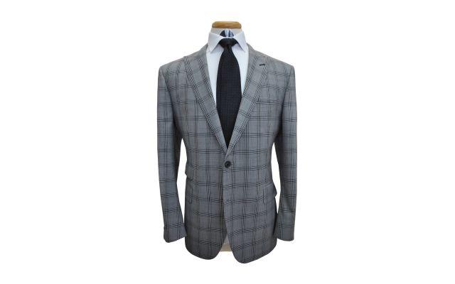 Light Grey Plaid Wool Suit