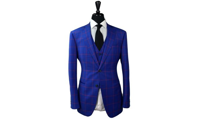 Blue with Red Windowpane Wool Suit