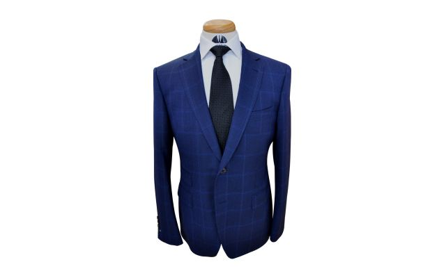 Blueberry Blue Windowpane Custom Wool Suit