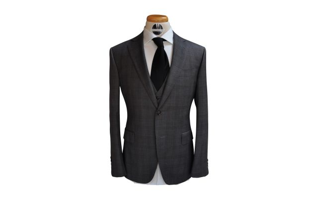 Grey with Brown Check Custom Wool Suit