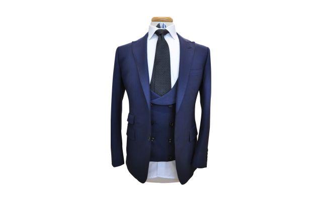 Navy Blue with Burgundy Windowpane Wool Suit
