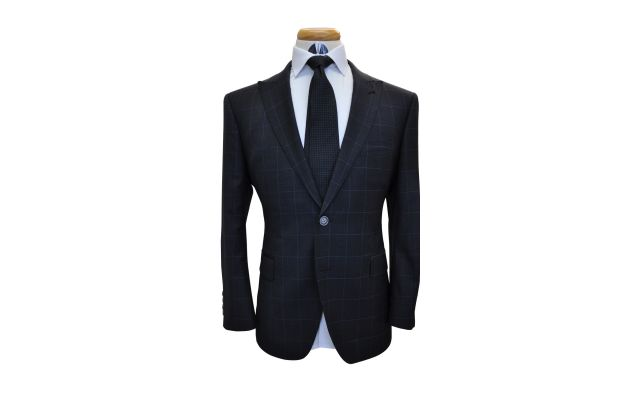 Charcoal Windowpane Check Wool Suit