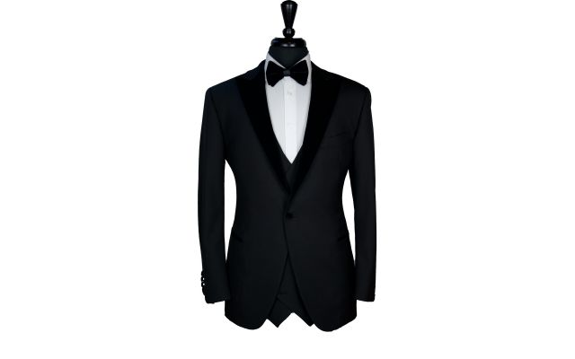 Classy Black Wool with Velvet Lapel Tuxedo