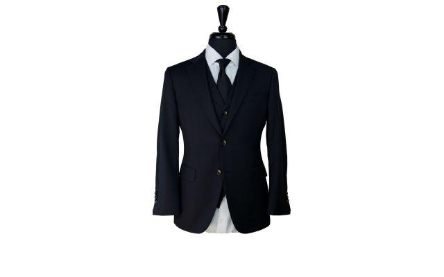 Silky Black Wool Suit