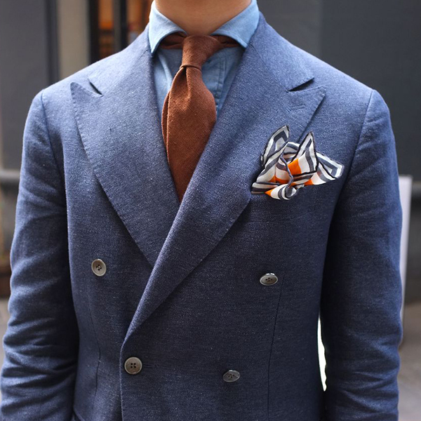 Wide peak double breasted blue suit