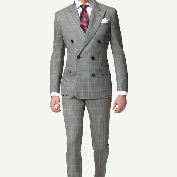 Grey windowpane double breasted suit