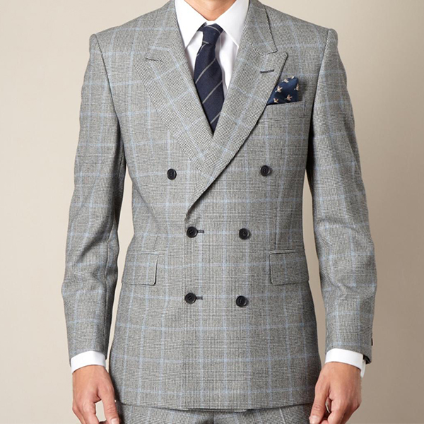 Prince of wales blue crosscheck double breast suit