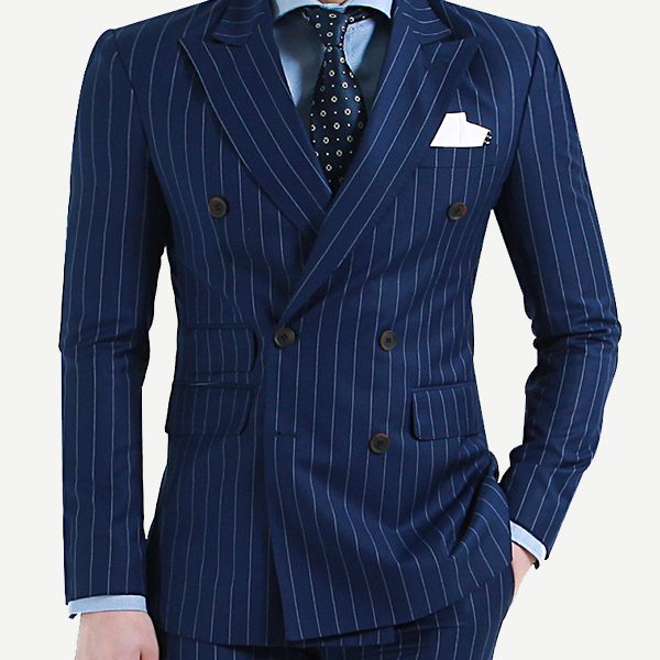 Pinstripe blue double breasted suit